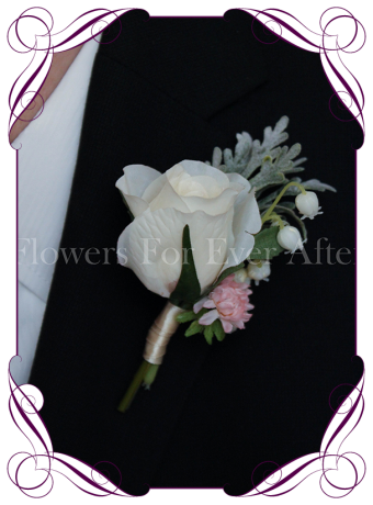 white and pink rustic rose gents, mens wedding boutonniere, silk groomsmans button