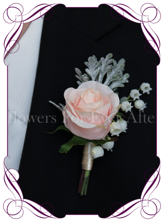 pink rustic rose gents, mens wedding boutonniere, silk groomsmans button