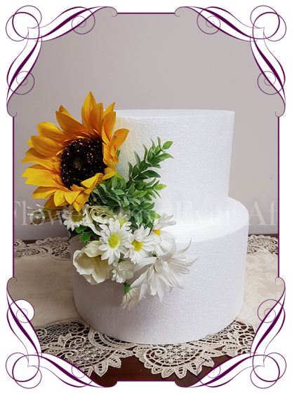 Silk artificial sunflower and white daisy boho country rustic wedding cake flower decoration / topper. Made in Melbourne. Shipping worldwide