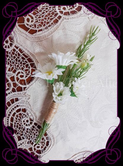 daisy mens wedding boutonniere, silk groomsmens button