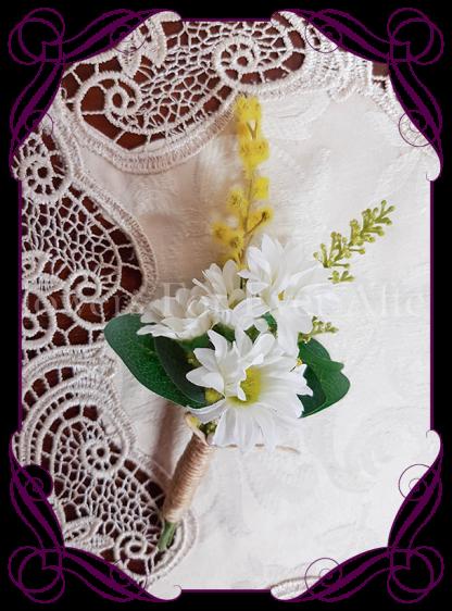 daisy mens wedding boutonniere, silk grooms button