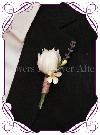 Silk artificial native protea gents boutonniere / wedding button with lavender and white. Made in Melbourne. Shipping worldwide