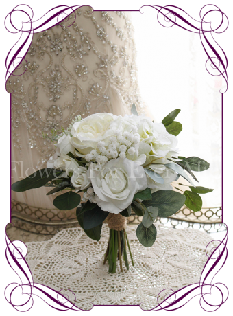 White silk artificial bridesmaid bouquet with peonies, roses, ranunculi, hydrangea, native gum in an loose rustic posy. Made in Melbourne. Shipping worldwide