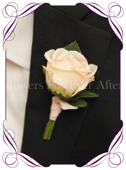 Silk artificial gents boutonniere / wedding button with a classic elegant light apricot champagne rose. Made in Melbourne. Shipping worldwide