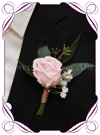 Silk artificial gents / groom / groomsmans boutonniere / wedding button with a classic elegant pink rose with baby's breath and native gum foliage. Made in Melbourne. Shipping worldwide