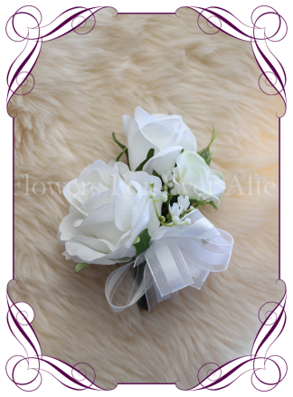 Classic white silk artificial ladies wedding formal corsage with white roses and babys breath