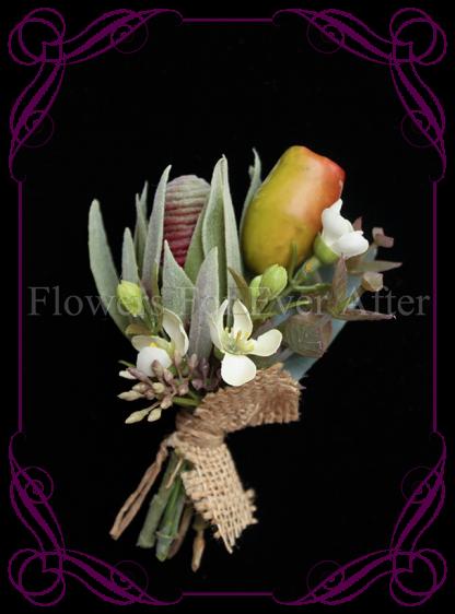 native Australian silk wedding / formal / deb / prom ladies pin corsage with gumnuts and protea bud.