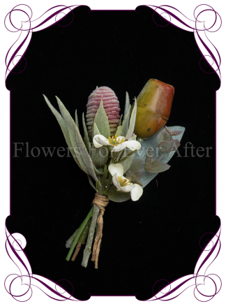 native Australian silk wedding / formal / deb / prom gents button boutonniere with gumnuts and protea bud.