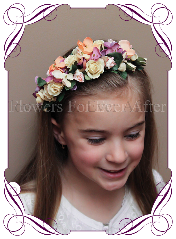 Autumn Fall pastel on rose gold flower girl headband floral hair piece.  Silk hydrangea and b8f87553ae9