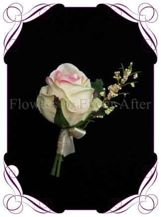 silk artificial cream pink rose formal / deb / prom / wedding gents grooms button boutonniere . Shipping world wide. Made in Melbourne Australia.