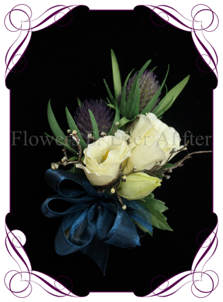 silk artificial purple thistle in a whimsical rustic meadow style for a formal / deb / prom / Scottish wedding ladies pinned corsage . Shipping world wide. Made in Melbourne Australia.