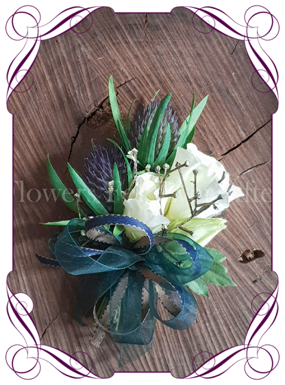 Ladies silk artificial pinned or wrist corsage with purple Scottish thistle and teal and navy ribbon for wedding / formal / prom. Buy online