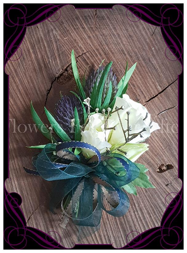 Thistle ladies corsage pinned or wrist flowers for ever after thistle ladies corsage pinned or wrist flowers for ever after artificial wedding flower designs mightylinksfo