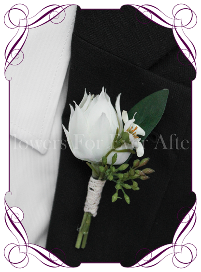 native Australian silk wedding / formal / deb / prom gents button boutonniere with seeded gum and blushing bride protea bud.