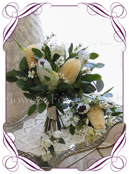 High quality realistic silk artificial bridal posy wedding bouquet package with soft yellow banksia, ivory white protea, mix Australian native flowers and gum leaves. Made in Melbourne Australia, shipped world wide. Buy online.
