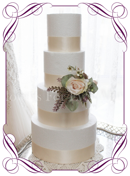 Soft pastel and Australian native rustic romantic artificial silk wedding cake flowers topper decoration with roses and burlap. Buy online. Shipping world wide.