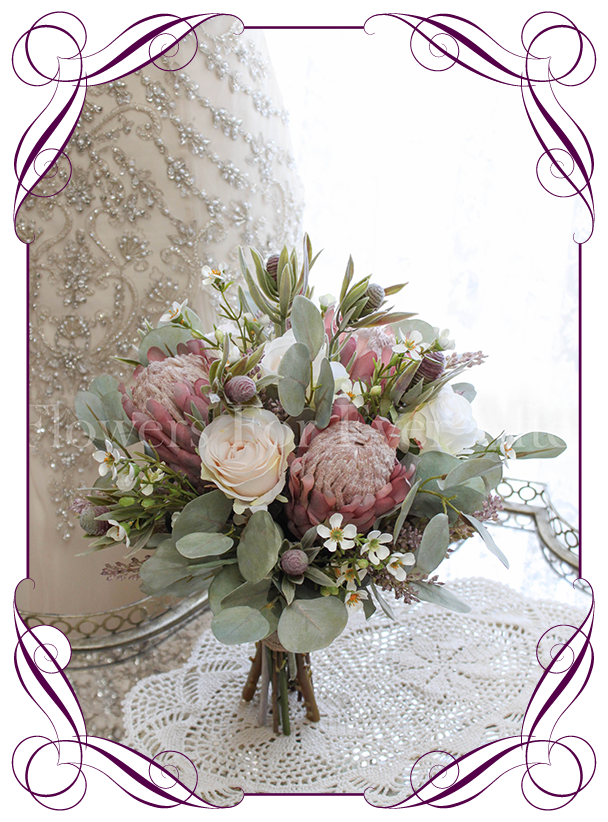 High Quality Realistic Silk Artificial Bridal Wedding Bouquet With Pink Protea Blush Ivory Roses And