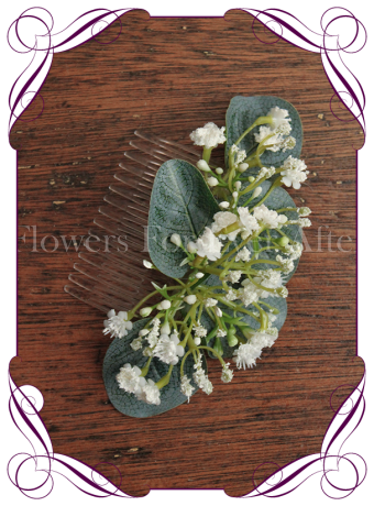 silk artificial baby's breath formal / deb / prom / wedding hair comb . Shipping world wide. Made in Melbourne Australia.