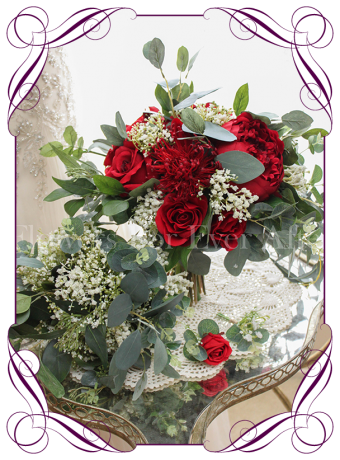 silk artificial bridal wedding bouquet posy package / set with baby's breath and red roses / peonies / native pin cushion with Australian native gum leaves and blue gum foliage. Shipping world wide. Made in Melbourne Australia.