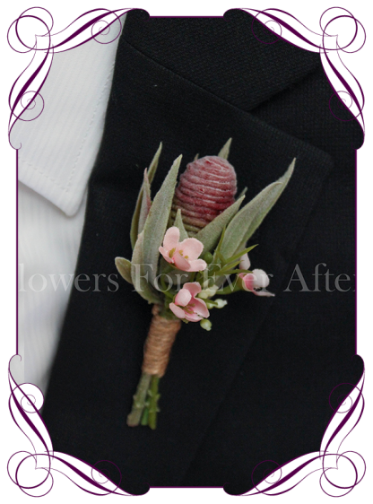 native Australian silk wedding / formal / deb / prom gents button boutonniere with pink wax flowers and protea bud.