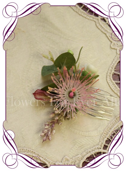 Silk artificial rustic Australian native pink hair flower comb for bride / bridesmaids / formal. Made in Melbourne. Buy online