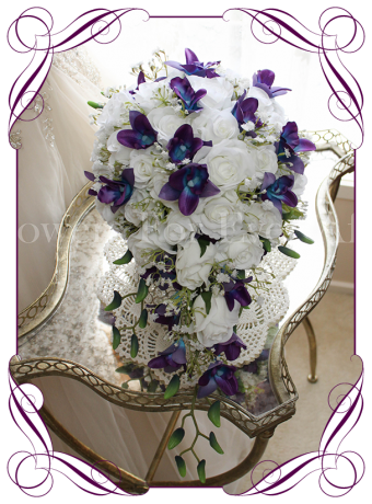 Silk artificial fake purple and blue galaxy dendrobium orchid, white roses and baby's breath wedding bridal tear drop bouquet. Buy online