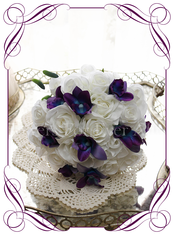 Silk Artificial Fake Purple And Blue Galaxy Dendrobium Orchid White Roses Babys Breath Wedding