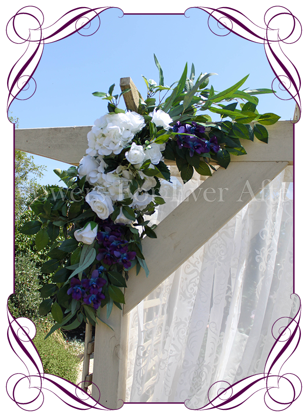 Breanna corner arbor arch wedding decoration package deal silk artificial blue galaxy orchids white hydrangea and rose wedding arbor arch table decoration junglespirit Image collections