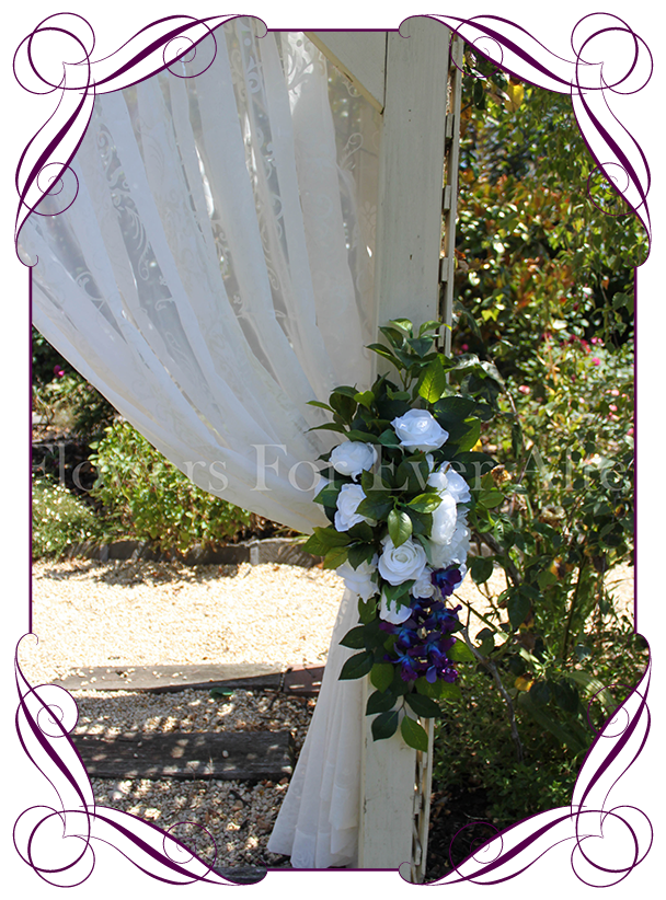 Breanna tieback arbor arch wedding decoration flowers for ever silk artificial blue galaxy orchids white hydrangea and rose wedding arbor arch table decoration junglespirit Image collections