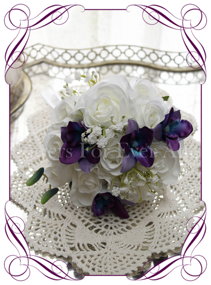Silk artificial fake purple and blue galaxy dendrobium orchid, white roses and baby's breath wedding flower girl posy / table posy. Buy online