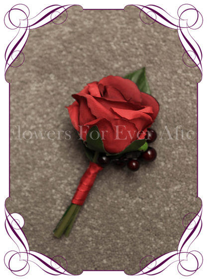 Silk artificial red rose and berry gents / mens / groom / groomsmans formal / wedding / prom button boutonniere flower . Made in Australia, Buy online