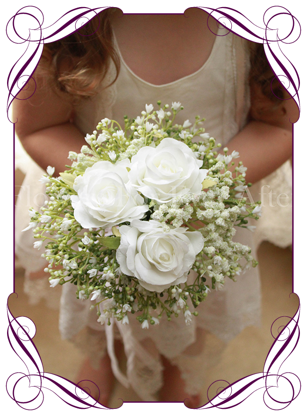 Andrea White Flower Girl Posy – Flowers For Ever After – Artificial ...
