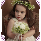 Silk artificial white wedding flowergirl / flower girl hair crown / halo with baby's breath / gyp.