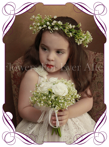 Silk artificial white wedding flowergirl / flower girl hair crown / halo with baby's breath / gyp.