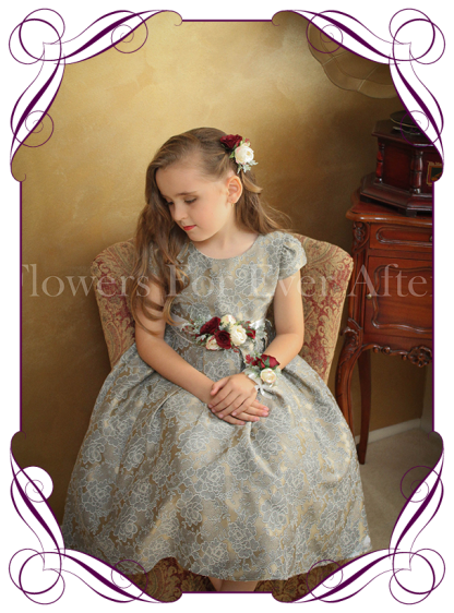 Silk artificial flower girl / flowergirl belt / sash wedding or formal dress flowers with burgundy and cream colours.