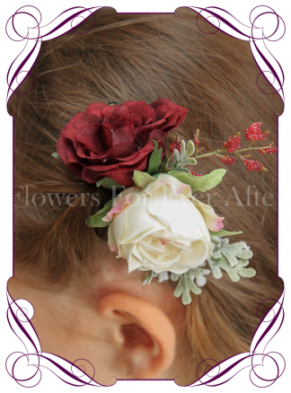 Silk artificial boho rustic wedding hair floral comb with pink/cream rose, burgundy rose and fine red berries.