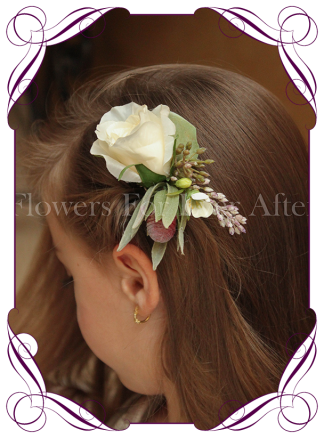 Silk artificial boho rustic wedding hair floral comb with a cream rose, native protea bud and seeded gum foliage.