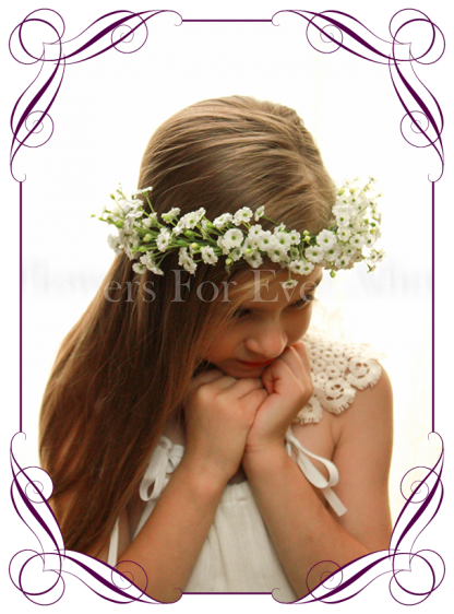 Silk artificial white wedding floral crown / halo with baby's breath. Made in Australia. Buy online.