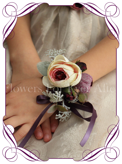 Silk artificial deep purple and cream ladies wrist corsage on ribbon for wedding / deb/ prom / formal