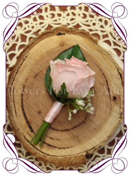 Silk artificial page boy button for weddings and formals, pink rose bud. Buy online.