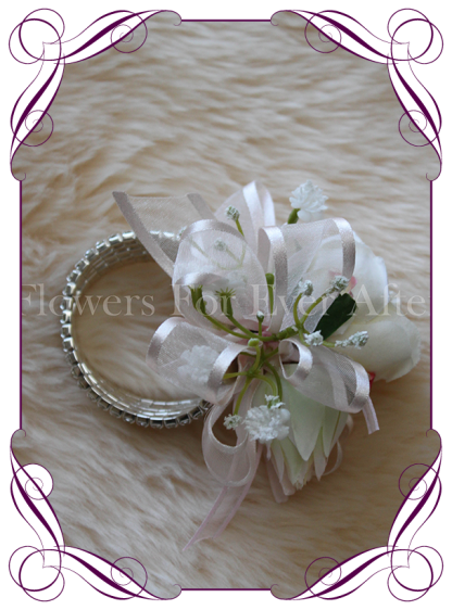 Silk artificial cream blush ladies formal / wedding / prom wrist corsage set on bling bracelet. Made in Australia, Buy online