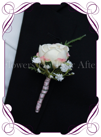 Silk artificial cream blush rose and baby's breath gyp gents / mens / groom / groomsmans formal / wedding / prom button boutonniere flower . Made in Australia, Buy online