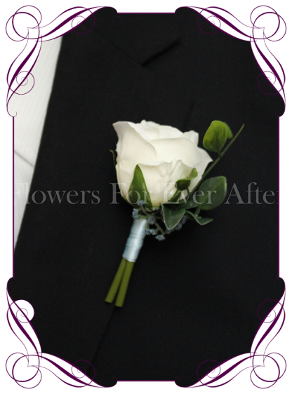 Silk artificial ivory white rose and navy gyp gents / mens / groom / groomsmans formal / wedding / prom button boutonniere flower . Made in Australia, Buy online