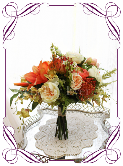 Silk artificial vibrant orange, apricot and green bridal wedding bouquet with lilies peonies orchids and Australian native. Buy online