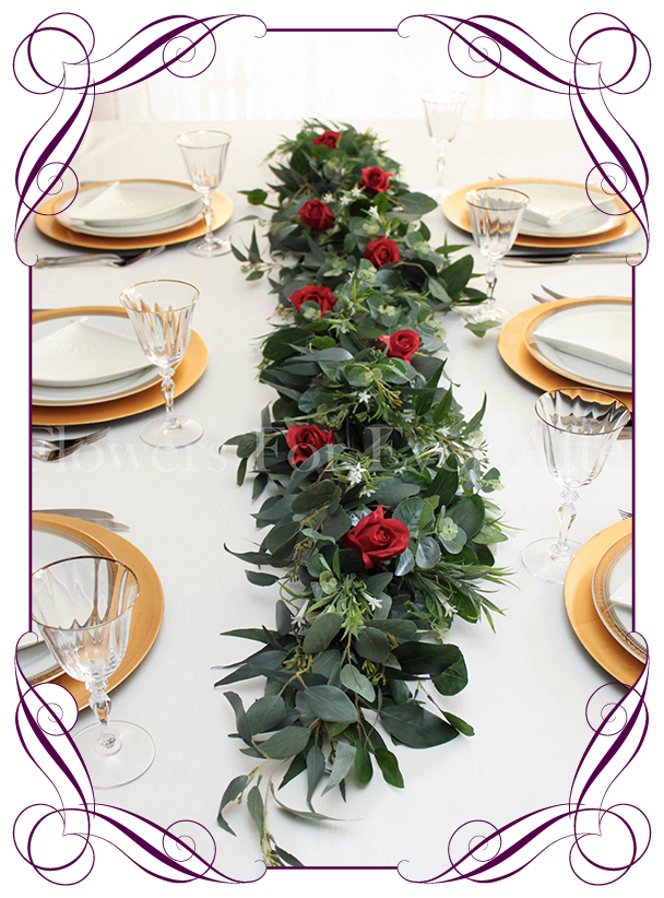 newest collection a6ceb 4f180 Kristy Red Rose & Foliage Table Garland Decoration - 1mt