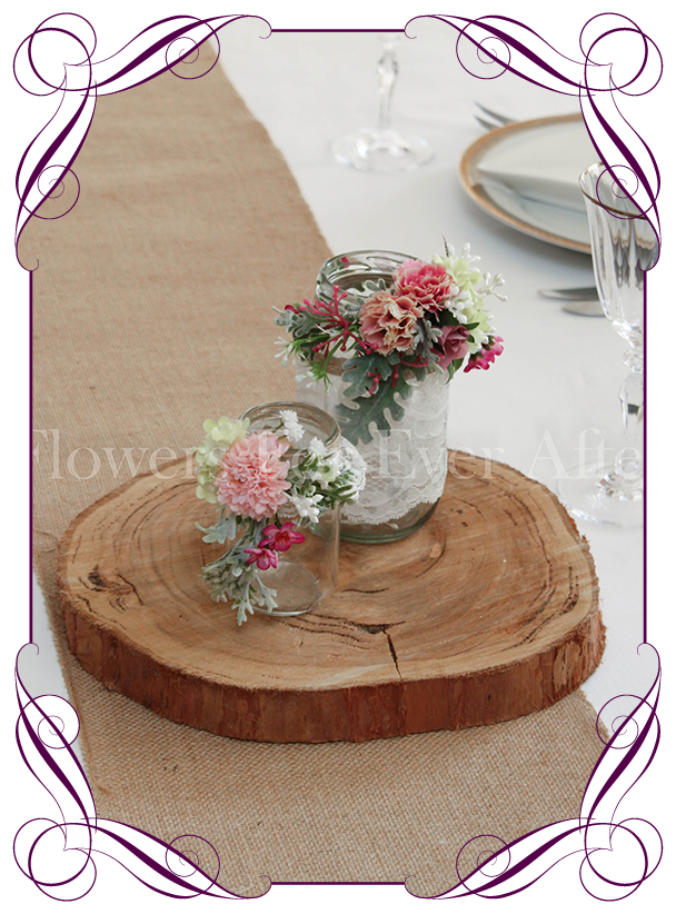 Set Of 2 Pink Rustic Floral Jar Centerpiece Gorgeous Artificial