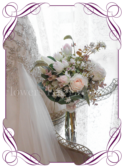 Silk artificial ivory and blush king protea rustic showering tear bridesmaids posy flowers bouquet. Shipping world wide. Made in Melbourne. Buy online.
