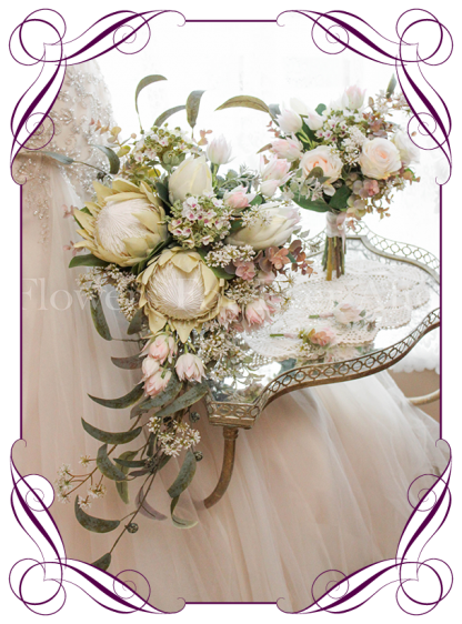 Silk artificial ivory and blush king protea rustic showering tear bridal bouquet Package Set. Shipping world wide. Made in Melbourne. Buy online.