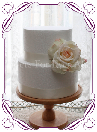 Artificial cream blush rose cake topper flower decoration. buy online.