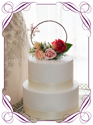 Silk artificial pink, peach, pastel apricot, blush, raspberry roses and baby's breath wedding engagement shower cake topper floral cake decoration. Elegant and romantic wedding flowers. Circle floral cake topper decoration. Made in Melbourne. Buy online